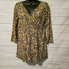 LIZ & Co Women's Blouse Size Small Black Gold Cream Abstract 3/4 Sleeve V-Neck