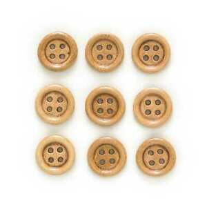 50pcs Coffee Wood Buttons for Sewing Scrapbooking Crafts Making Cloth Decor 15mm