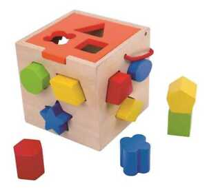 TOOKY TOY Wooden Toy Shape Sorter Puzzle Coloured Cubes Educational Gift Kids