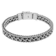 Bali Hand Weave Solid Sterling Silver Designer Bracelet - 43 Grams