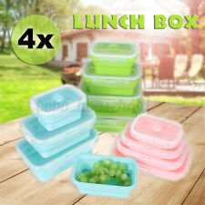 4 Pcs Set Folding Containers Silicone Food Storage Microwave Fridge Lunch