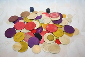 COLOURFUL ANTIQUE BONE GAMES COUNTERS WITH A FEW PLASTIC AND WOOD (99 IN TOTAL)