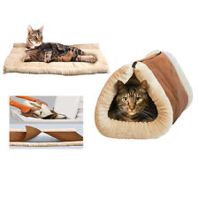 2 in 1 Cat Dog Bed Pet Kitten Mat Puppy Cave Tunnel Kennel House Pad Tent