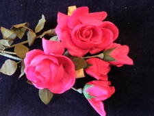 Vintage Millinery Flower Pure Silk Collection Rose 2-5 Bright Pink German Ka9p