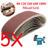 5X Sanding Belt 533x75mm For Metal Wood Grinding 80 120 240 600 1000 Mixed Grit