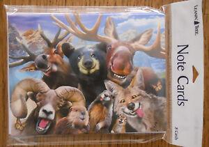 8 Leanin Tree Note Cards SELFIES, BEAR, MOOSE, RAM, WOODLAND ANIMALS, SMILING