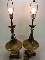 """Vintage Pair Gold Leaf Hand Painted Table Lamps on Marble Base 36"""""""