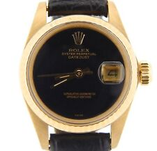Ladies Rolex Solid 18K Yellow Gold Datejust Watch Leather Band Black Dial 6917