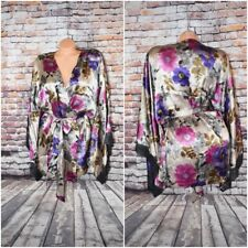 Via Del Amore XL Floral 100 % Silk Bath Robe