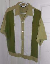 50s-60s SEARS 3 Tone SHIRT JAC Greens-White LION CREST Loop Collar ROCKABILLY XL