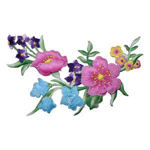 """Flower Applique Patch - Arrangement, Blooms Badge 5"""" (Iron on)"""