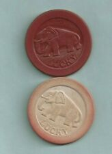 New listing Vintage Lot of 2 Elephant Lucky Clay Poker Chips