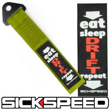 OLIVE GREEN HIGH STRENGTH RACING TOW STRAP EAT SLEEP DRIFT REPEAT BADGE P11