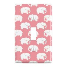 White Elephant Pattern Pink Plastic Wall Decor Toggle Light Switch Plate Cover
