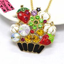 Hot Betsey Johnson Color Enamel Strawberry Basket Crystal Pendant Women Necklace