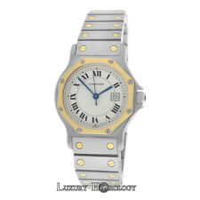 Midsize Ladies Cartier Santos Octagon Steel 18K Gold 30MM Date Automatic Watch