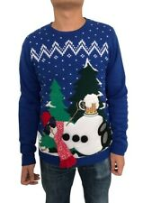 Jolly Sweaters Men's Ugly Christmas Holiday Snowman Sweater SMALL
