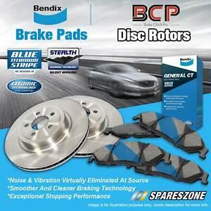 Front BCP Disc Brake Rotors + Bendix Brake Pads for Mitsubishi Magna TE TF TJ TH
