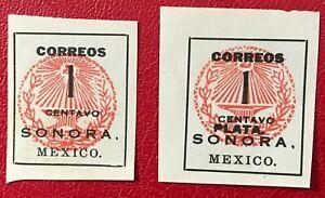 MEXICO Sc#405, 410 1915 SONORA/PLATA Mint NH NG VF (20-19)