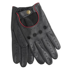 Dents Delta Men's Hairsheep Black/Berry Leather Classic Driving Gloves Sz S
