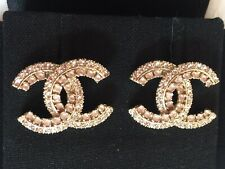 Authentic Chanel CC Logo Crystal Two Tone Gold Earrings