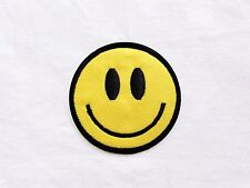 1x smile smiley patch happy yellow face Nirvana Iron On Embroidered Applique DIY