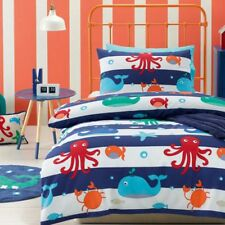 Kids Boys Sea Creatures Double Bed Quilt Doona Cover & Pillowcases Set Bedding