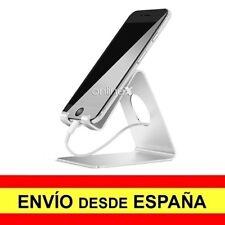 Soporte Mesa Aluminio para Móvil Tablet Sobremesa Base Universal PLATA a2977