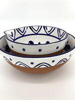 Cobalt Blue White Bohemian Boho Decor Kitchen Blue Set of 2 Earthenware Bowls