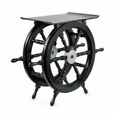 Nautical Handcrafted Style Pirate's Black Wooden & Ottoman  Sitting Stool