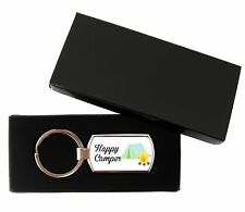 Rectangle Camping Happy Camper Metal Keyring Metal Supplied With Gift Box