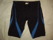 TYR Jammers Racing Swimsuit Shiny Black w/ Blue Lycra Spandex Shorts Size 34