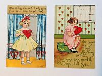 Lot of 2 Vintage HBG HB Griggs Valentine's Day Postcards Children Hearts Girls