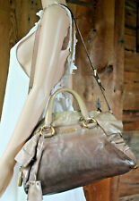 $1798~PRADA Ombre Ruffel Crossbody brown LEATHER GLACE Satchel  BAG Gold Silver