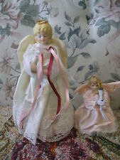 2 Vintage plastic cone Tree Angels - ceramic heads & hands - satiny gowns wings