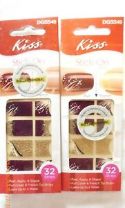 NWT Kiss Stick-On Full or French Peel, Apply & Shape Artificial Nails 32 Strips