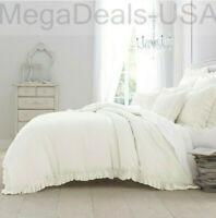 Wamsutta Vintage Linen Gauze Ruffle Duvet Cover in White -  Queen / Full