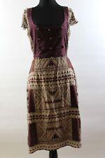 Plenty by Tracy Reese Burgundy Brown Print Silk Beaded Trim Cap Sleeve Dress 10