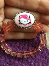 Tarina Tarantino Hello Kitty Stretch Bracelet - Peachy Pink And Purple Beads