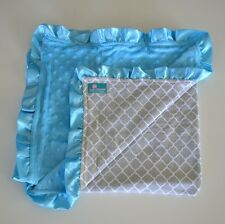 Delux Minky Baby Blanket- Aqua Blue & Grey wicker