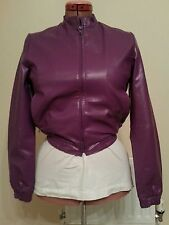 PURPLE Womens Faux Leather PU BIKER JACKET uk14 us10 eu40 Chest c38ins c97cms