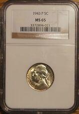 "1943-P JEFFERSON ""SILVER"" WAR NICKEL 5¢-NGC MS -65#3372894-021"