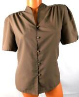 Mistique brown women's plus size short sleeve ruched career button down top XL