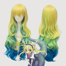 US Quetzalcoatl Lucoa Ombre Wavy Hair Anime Miss Kobayashi's Dragon Maid Cos Wig