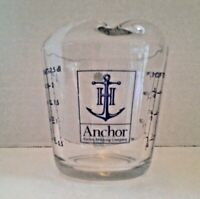 Vintage Anchor Hocking #496 8 oz 1 Cup Glass Measuring Cup Blue Lettering