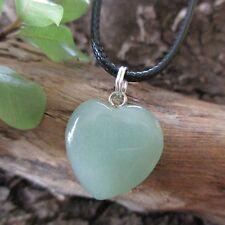 GREEN AVENTURINE Heart Crystal Gemstone LUCK ~ WEALTH ~ FORTUNE Pendant Necklace