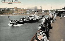 POSTCARD    DORSET   BOURNEMOUTH  SS  Brodic  Castle  leaving  the  Pier