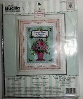"Plaid Bucilla Counted Cross Stitch Kit Flowers Bloom in Love 5"" x 7"" New Sealed"