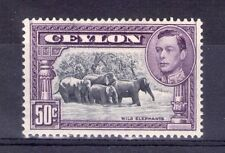 CEYLON 1938 50c 13.5x13.5 perf lightly hinged fresh colours.