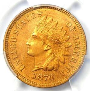 1870 Indian Cent Penny 1C - PCGS Uncirculated Details (UNC MS) - Rare Key Date!